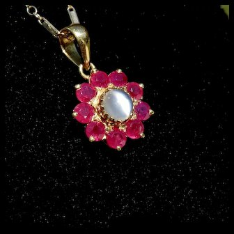Gorgeous 18k Gold Ruby Moonstone Pendant