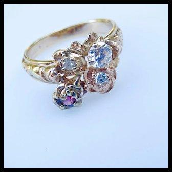 14k Rare Jabel Custom Rose .53 Carat Diamond Ring - Rose, Yellow, Green and White Gold - Exquisite