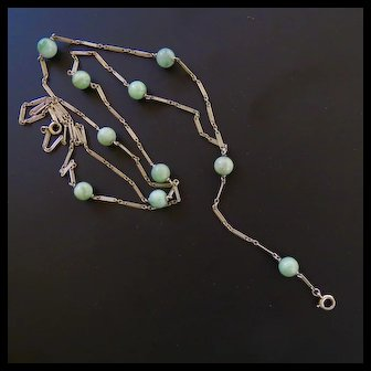 18k Fancy White Gold Long Fancy Ladies Watch Chain with Natural Jade Green Beads