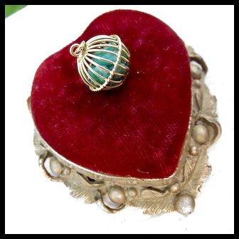 18k Gold Loose Raw Emerald Caged Ball Charm - Mid-Century Modern Gem!