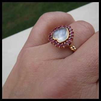 Gorgeous 18k Gold Ruby & Heart Moonstone Halo Ring