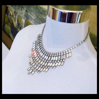 1950s Gorgeous Rhinestone Drop Bib Necklace