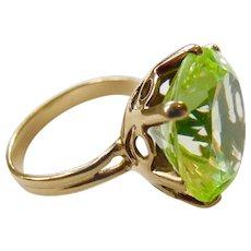 14k Gold Large GLOWING Vaseline Glass Ring