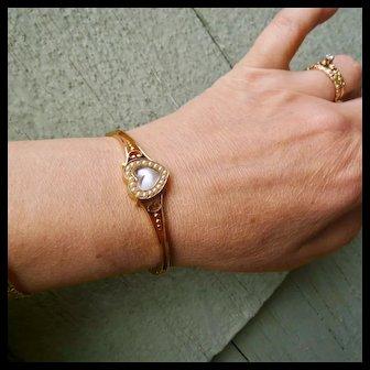 Antique 14k Gold Moonstone & Seed Pearl Bangle Bracelet