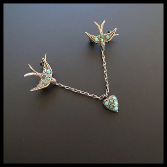 Rare French Sweetheart Brooch - Twin Swallow carrying a Heart Brooch