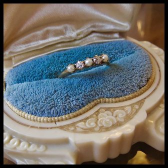 14k Gold Diamond and Seed Pearl Ring