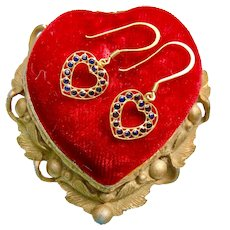 18k Gold Sapphire Heart Earrings