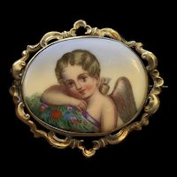 Large Antique Cupid Painting on Porcelain Pin