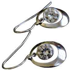14k White Bezel Set Gold Cubic Zirconia Dangle Mod Earrings