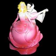 Deco German Pierrot and Rose Dancer Figural Dresser Box - Rare