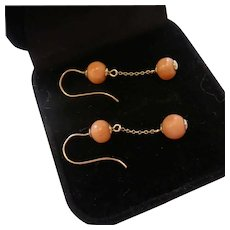 Antique 9ct Rose Gold Natural Salmon Coral Drop Earrings