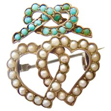 Antique Sterling Seed Pearl and Turquoise Double Heart Knot Sweetheart Pin