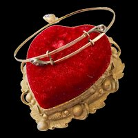 Rare Antique 10k Double Snake Bangle with Enamel Puffy Heart Charm!