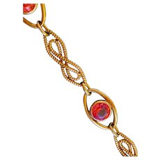 Gold Filled Mid-Century Pink Paste Bracelet Marked 'STURDY'