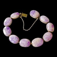 Antique Arts and Crafts 935 Silver Amethyst Bracelet