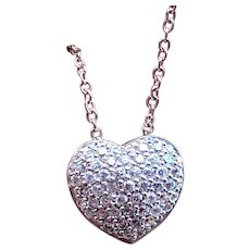 Vintage Sterling Silver Pave Heart Necklace