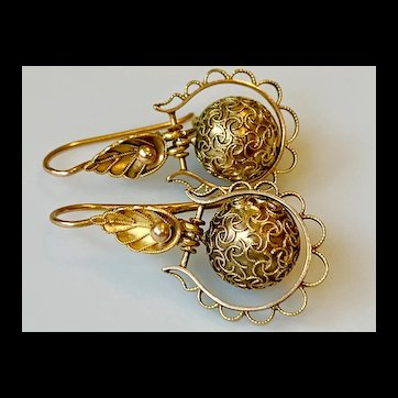 Victorian 14k Gold Articulated Ball Drop Earrings