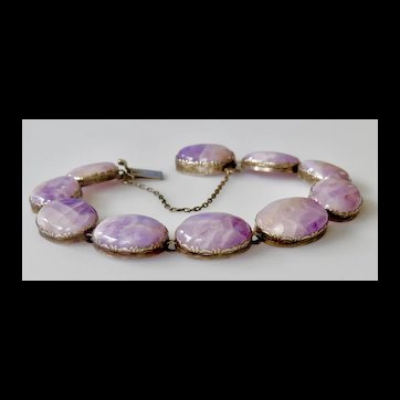 Antique Silver and Natural Amethyst Cabochon Bracelet