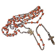 Rare Antique French Silver & Natural Red Coral Rosary Necklace