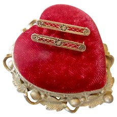 906e6e640 Antique Victorian or Edwardian Natural Coral Brooch with Hearts ...