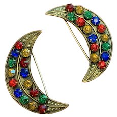 Matched Pair of Art Nouveau Crescent Moon Tutti-Fruity, Fruit Salad Multicolor Paste Pins