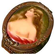 Wonderful Antique French Risque Nude Velvet Lined Trinket Box