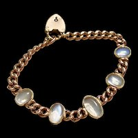 Antique SOLID 9ct Moonstone Sweetheart Link Bracelet - 21 Grams