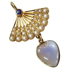 Antique 15CT Moonstone Seed Pearl Sapphire Fan Heart Pendant