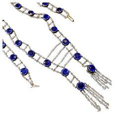 Rare Fabulous 14k Seed Pearl Cobalt Blue Paste Flapper Tassel Necklace - Museum Piece!
