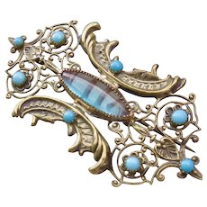 Antique Large Saphiret and Turquoise Paste Pin