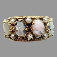 Large 14 Karat Gold Wide Band Cameo Ring with Pearls