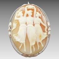 Large 14 Karat Gold Filigree Genuine Natural Shell Cameo Pin w/ the Three Graces