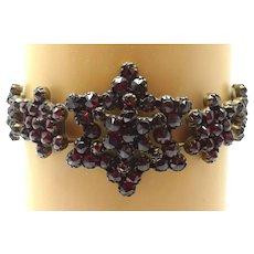 Genuine Natural Bohemian Garnet Bracelet with Star / Snowflake Rosettes