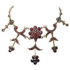 Genuine Natural Bohemian Garnet & Brass Necklace with Five Drops