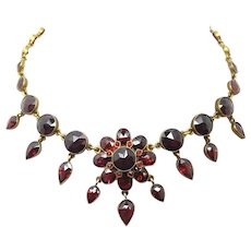 Genuine Natural Bohemian Garnet Necklace with Pear Drops