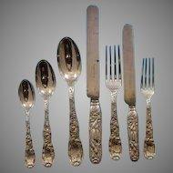 Tiffany Chrysanthemum Sterling Dinner flatware set for 12