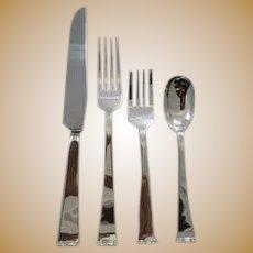 "Allan Adler handmade hammered ""Modern Georgian"" Sterling flatware set for 12"