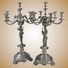 Pair of 7 light Silver Candelabra Epergne Austrian