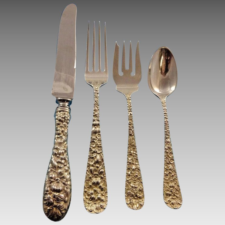Rose by Stieff Sterling Silver Flatware Set For 12 Service 48 Pieces  Repousse - Rose By Stieff Sterling Silver Flatware Set For 12 Service 48 Pieces