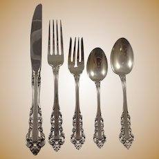 Medici New by Gorham Sterling Silver Flatware Set 6 Dinner Service 34 Pieces TRUE DINNER SIZE SET FOR 12! 64 PIECES
