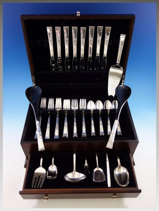 Classic Rose by Reed and Barton Sterling Silver Flatware Set 8 Service 42  pcs - Classic Rose By Reed And Barton Sterling Silver Flatware Set 8