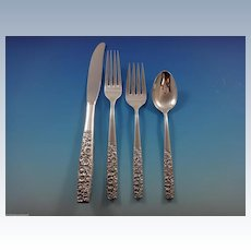Contessina by Towle Sterling Silver Floral Flatware Set For 12 Service 48 Pcs