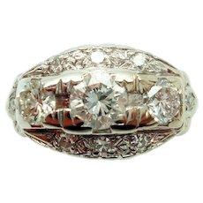 14 Karat Gold 1 Carat Total Weight Genuine Natural Diamond Ring with Small Diamonds