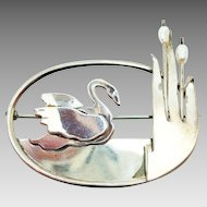 Sterling Hand Wrought Brooch with Swans and Pearls