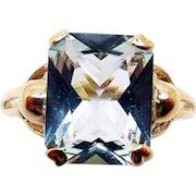 14 Karat Gold Radiant Cut 2.83 Carat Genuine Natural Aquamarine Ring
