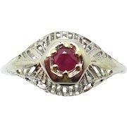 18 Karat Gold Filigree .15 Carat Genuine Natural Ruby Ring