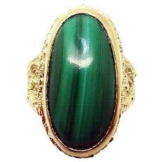 14 Karat Yellow Gold Oval Genuine Natural Malachite Ring