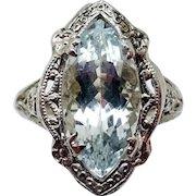 14 Karat Gold 1.75 Carat Marquise Genuine Natural Aquamarine Filigree Ring