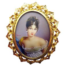 18 Karat Hand Painted Portrait Pin / Pendant with Diamonds