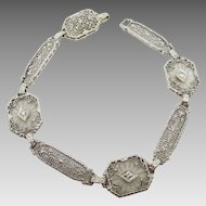 14 Karat White Gold Filigree Genuine Natural Rock Crystal Bracelet